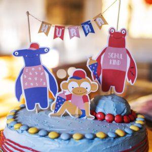 Cake Topper Einschulung bunt gestreift