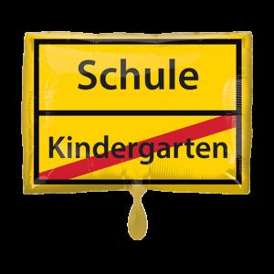 Ballon Ortsschild Schule Kindergarten